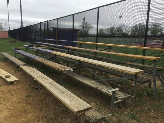 Wooden bleachers at Camden High's baseball field are broken and need to be replaced. A fundraiser May 1 at the Camden County Historical Society will benefit efforts to rehabilitate the Panthers' baseball and softball fields at Farnham Park.