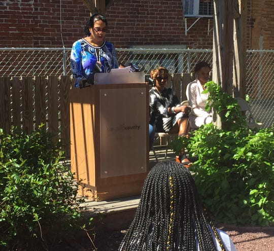 Cynthia Primas, executive director of IDEA, speaks at a Parkside press conference Wednesday.