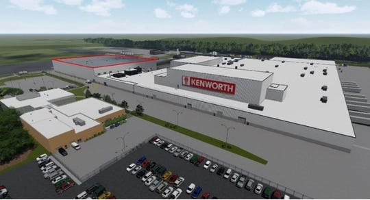 A rendered image of the Kenworth Chillicothe Paint Facility shows what the plant will look like after construction.