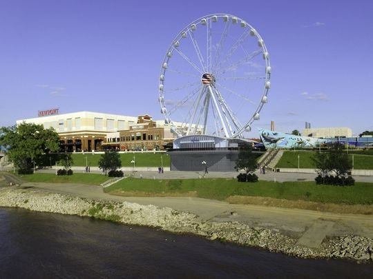 An artist's rendering of the planned Newport SkyWheel at Newport on the Levee