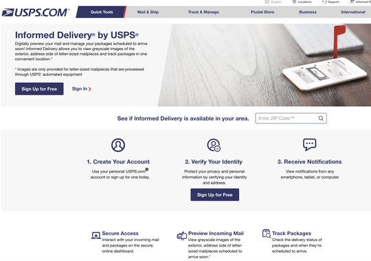 The Informed Delivery sign in page on USPS's website