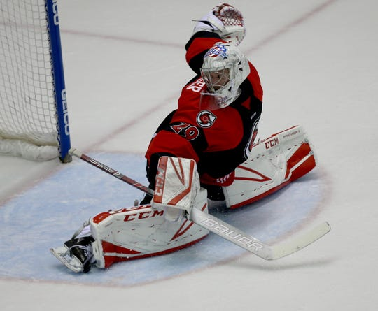 Cyclones goalie Micheal Houser  during their playoff game against Kalamazoo Tuesday, April  23,2019.