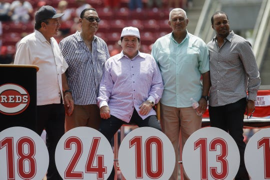John Minchillo/AP Cincinnati legend Pete Rose, center, sits with Reds greats, from left, Johnny Bench, Tony Perez, Dave Concepcion and Barry Larkin during a ceremony to retire his No. 14 on Sunday. Former Cincinnati Reds player Pete Rose, center, sits with Reds greats, from left to right, Johnny Bench, Tony Perez, Dave Concepcion and Barry Larkin during a ceremony to retire his No. 14 before a baseball game against the San Diego Padres, Sunday, June 26, 2016, in Cincinnati. (AP Photo/John Minchillo)
