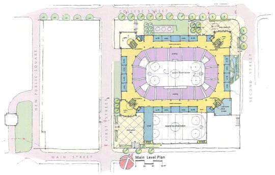 The Main Level plan for the multipurpose event center planned in downtown Clarksville, by Convergence Design/Rufus Johnson Associates.