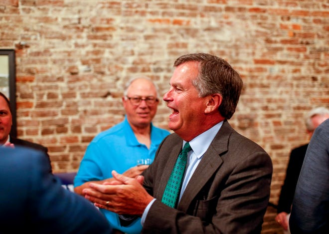 Bill Powers, newly elected to Tennessee State Senate, arrives at the election party for Powers at Strawberry Alley Aleworks in Clarksville, Tenn., on Tuesday, April 23, 2019.
