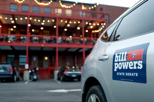 A vehicle sits near the Bill Powers election party at Strawberry Alley Aleworks in Clarksville, Tenn., on April 23, 2019.