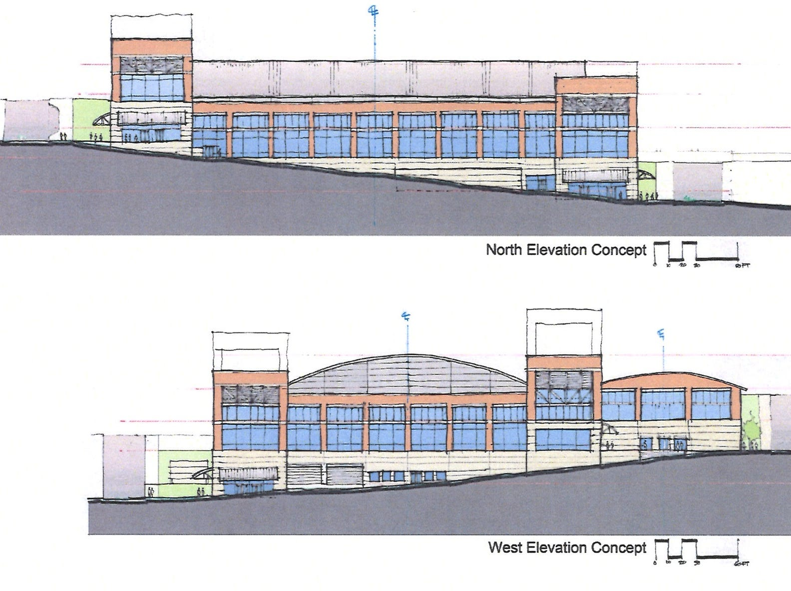 North and west views of the multi-purpose event center planned in downtown Clarksville.