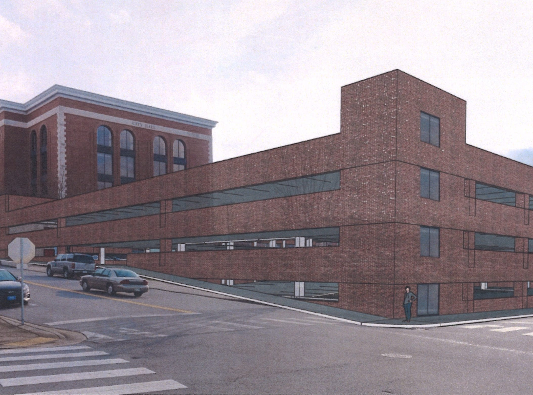 The proposed parking garage planned in downtown Clarksville, by Convergence Design/Rufus Johnson Associates.