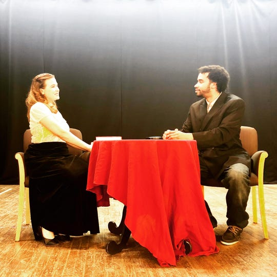 "Anna Paone of New York City and Nathaniel Tomb of Plainfield star in Dragonfly Multicultural Arts Center's production of Oscar Wilde's ""The Importance of Being Earnest,"" running May 2 to 5 at duCret School of Art, Plainfield."