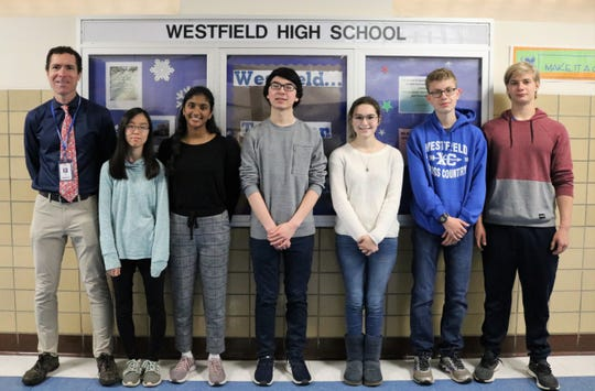 Six  Westfield High School students recently achieved the highest score possible on portions of SAT and ACT standardized tests.   Left to right: WHS Assistant Principal Warren Hynes, Hasumi Tanemori, Sumana Turimella, Stephen Park, Morgan Rollins, Aidan Kilbourn, and Evan Branagan.