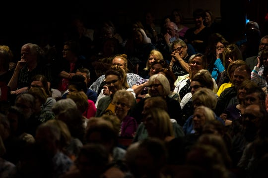 The audience in the sold-out Hoyt Sherman Place auditorium listens during the Des Moines Storytellers Project's My Great Adventure event on Tuesday, April 23, 2019, in Des Moines.