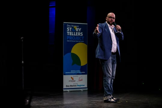"Chad Taylor tells his story, Stranded in Inuvik: How a self-described ""moron"" found himself alone above the Arctic Circle, during the Des Moines Storytellers Project's My Great Adventure: Wanderlust, taking a leap and getting away, produced by the Des Moines Register, on Tuesday, April 23, 2019, at Hoyt Sherman Place in Des Moines."