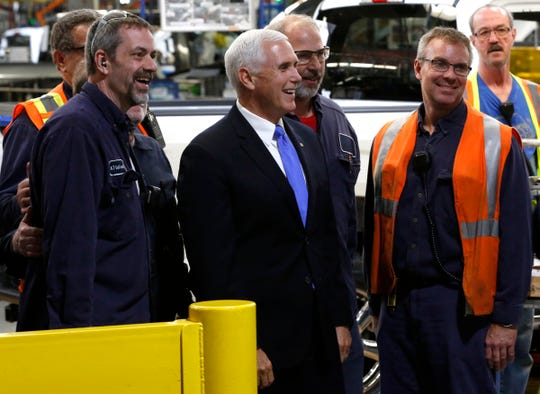 Vice President Mike Pence talks with and has his picture taken with Ford Motor Company Dearborn Truck Plant workers during his visit and tour at the plant where the Ford F150 is produced in Dearborn, Michigan on Wednesday, April 24, 2019.