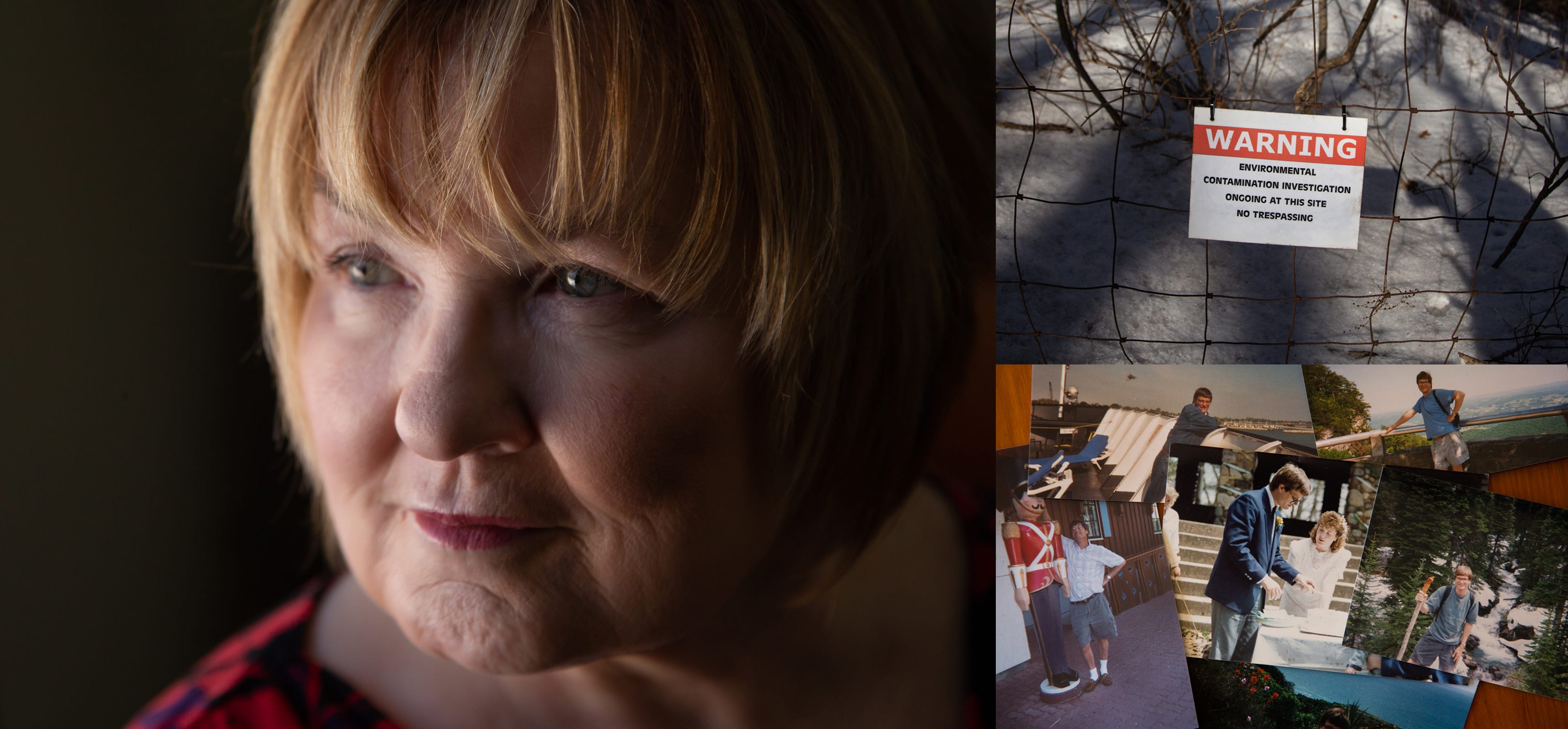 Left: Sandy Wynn-Stelt of Belmont stands in her home on Monday, March 11, 2019. The DEQ informed her in 2017 that her well water had PFAS contamination as high as 78,000 parts per trillion. Top right: A sign posted on a fence around the former House Street landfill in Belmont warning of environmental contamination research. Bottom left: A wedding photo of Sandy Wynn-Stelt of Belmont and her husband Joel Stelt. She has sky-high levels in her blood and her husband died of cancer leaving her wondering if it's related.