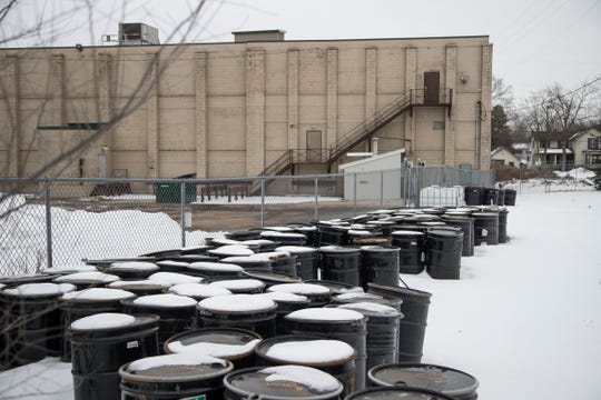 Hundreds of barrels of dirt sample collected from a former Wolverine World Wide tannery site in Rockford, March 1, 2019.