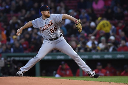 Detroit Tigers starting pitcher Spencer Turnbull (56) pitches during the first inning against the Boston Red Sox at Fenway Park.