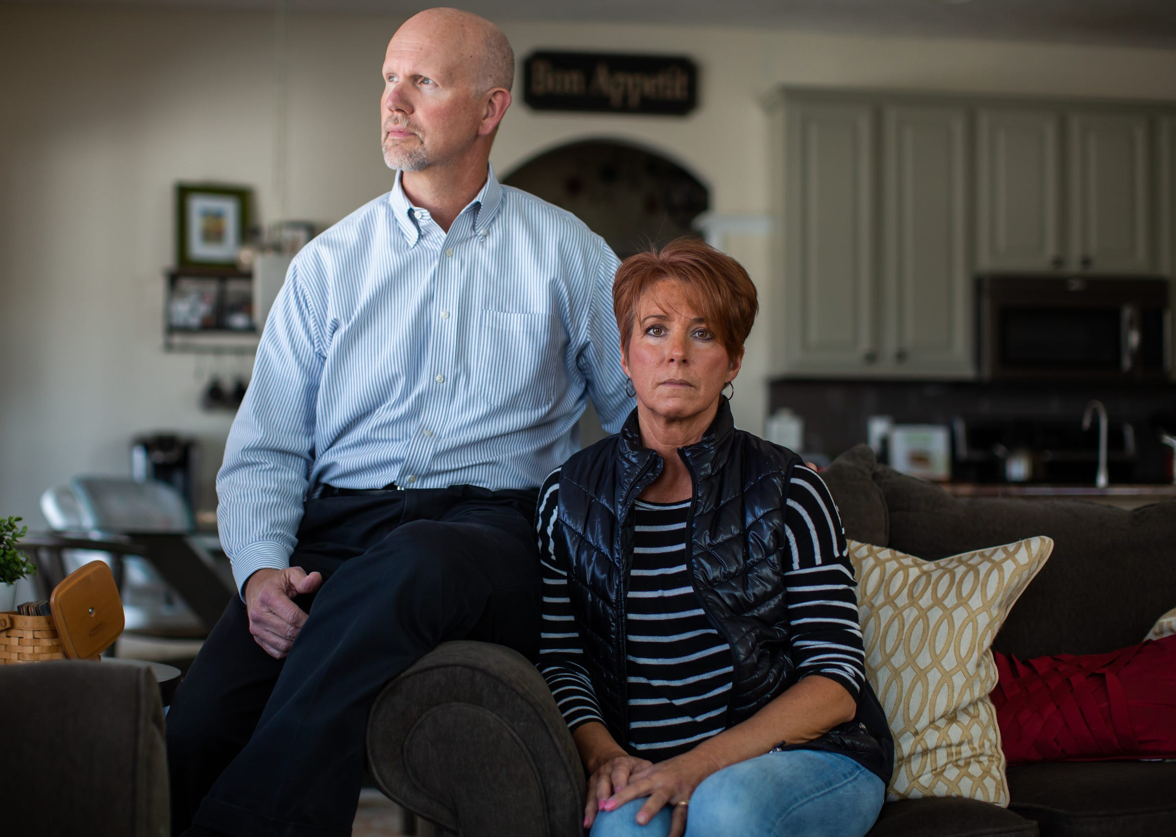 """""""There is a lot of fear in the unknown. You don't know how long we have been exposed. We don't know yet the levels that are in our blood, and how damaged are we,"""" Jill Osbeck said while sitting with her husband Tim Osbeck at their home in Rockford on Monday, March 11, 2019. The Osbeck household has had an initial level 8,900 parts-per-trillion PFAS detected in their water and have had readings as high as 17,600 part-per-trillion during weekly water tests."""