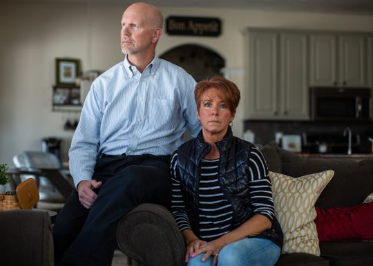 """There is a lot of fear in the unknown. You don't know how long we have been exposed. We don't know yet the levels that are in our blood, and how damaged are we,"" Jill Osbeck said while sitting with her husband Tim Osbeck at their home in Rockford on Monday, March 11, 2019. The Osbeck household has had an initial level 8,900 parts-per-trillion PFAS detected in their water and have had readings as high as 17,600 part-per-trillion during weekly water tests."