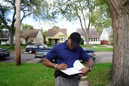 Kirk Peterson is the Homeless Liaison and attendance agent for Greenfield Union Elementary School in Detroit, where he visits the homes of children who have not been to school, seen here on Oct. 10, 2018.