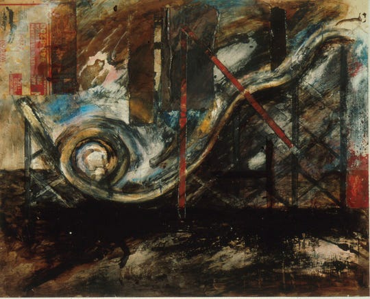 """Roller Coaster III,"" 1977; Gordon Newton; paint, graphite, crayon, ballpoint pen, varnish, and collage."