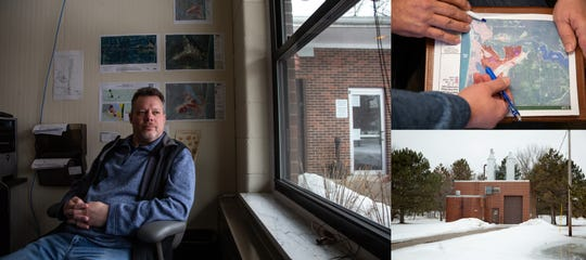 Left: Oscoda Township Supervisor Aaron Weed talks about the PFAS contamination stemming from the former Wurtsmith Air Force Base in Oscoda on Wednesday, March 13, 2019 at his office in the Oscoda Township offices. Top right: Oscoda Township Supervisor Aaron Weed and Vice Chairman of Oscoda Township Planning Commission Robert Tasior look over a map. Bottom right: A granular activated carbon (GAC) plant on the former Wurtsmith Air Force Base in Oscoda Township used to treat groundwater for PFAS.