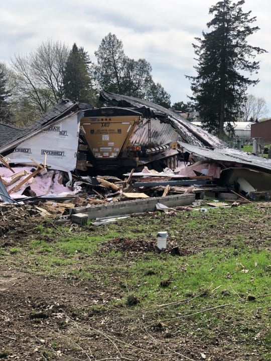 A truck that lost control destroyed a house in Ray Township on April 24, 2019.