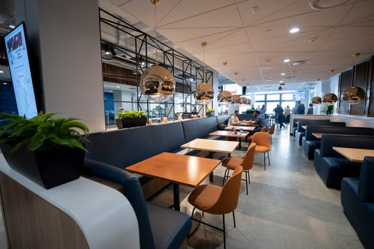 The cafeteria at the LinkedIn offices in Detroit offers a free lunch for employees.