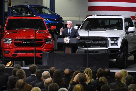 Vice President Mike Pence speaks to workers at Motor City Solutions in Taylor about the United States-Mexico-Canada Agreement on Monday, April 24, 2019.