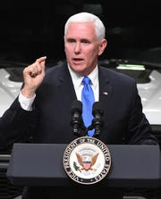 Vice President Mike Pence speaks on the United States-Mexico-Canada Agreement at Motor City Solutions in Taylor, Michigan on April 24, 2019.