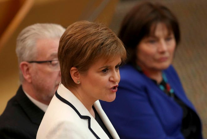First Minister of Scotland Nicola Sturgeon issues a statement on Brexit and independence in the main chamber at the Scottish Parliament, Edinburgh, Wednesday April 24, 2019.