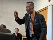 Flint Councilman Eric Mays yells at colleagues on April 22, 2019.