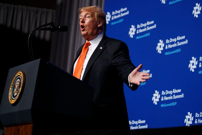 "President Donald Trump speaks to the ""Rx Drug Abuse and Heroin Summit,"" Wednesday, April 24, 2019, in Atlanta."