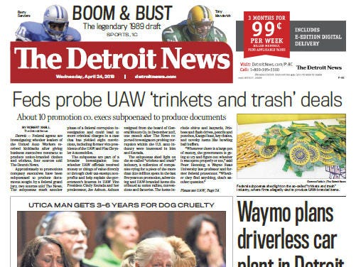 Front page of  The Detroit News on Wednesday, April 24, 2019.