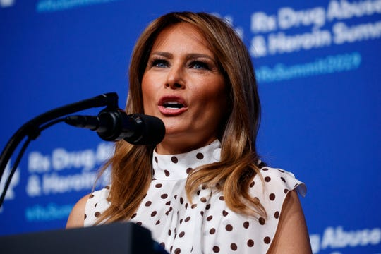"First lady Melania Trump speaks to the ""Rx Drug Abuse and Heroin Summit,"" Wednesday, April 24, 2019, in Atlanta."