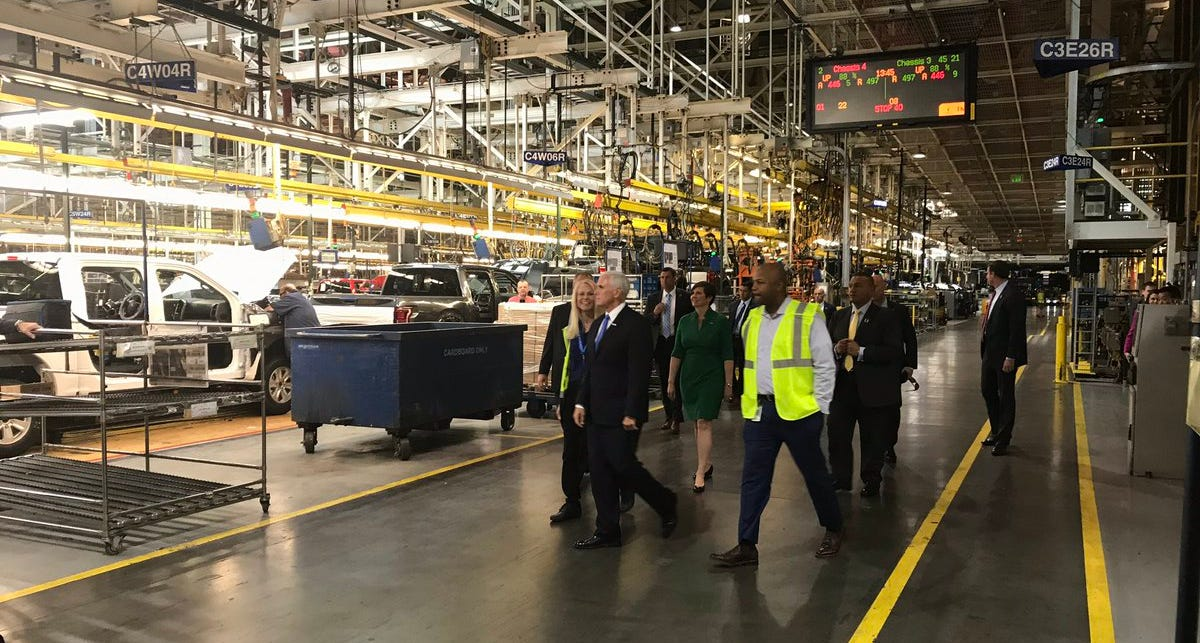 U.S. Vice President Mike Pence at the Dearborn Truck Plant.