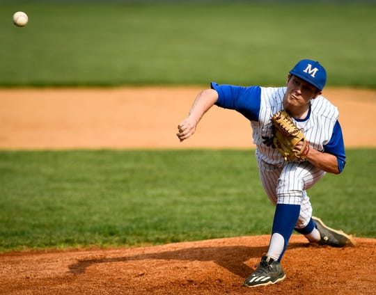 Memorial's Craig Karcher (14) pitches in the first inning against Mater Dei on April 23. The Tigers face Castle this week with the SIAC title on the line.