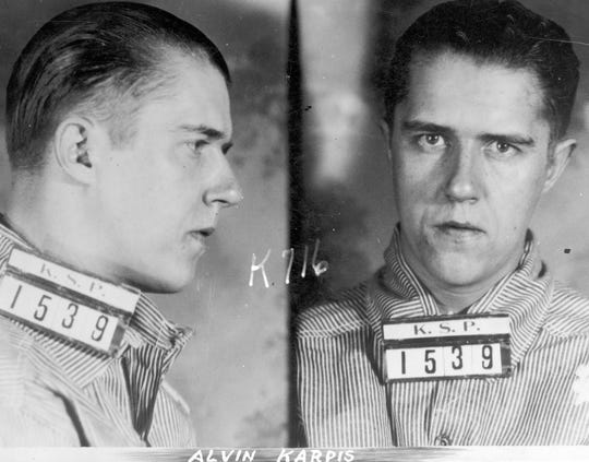 Mugshot of Alvin Karpis, member of the Barker-Karpis gang and responsible for bank robberies, kidnapping, burglary, auto theft. Arrested in New Orleans on May 1, 1936 by Director Hoover and FBI agents. He was sent to Alcatraz and served 26 years.
