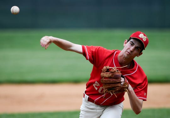 Mater Dei's Andy Heldman (20) pitches in the first inning as the Mater Dei Wildcats play the Memorial Tigers in a SIAC matchup at Stone Field Tuesday, April 23, 2019.