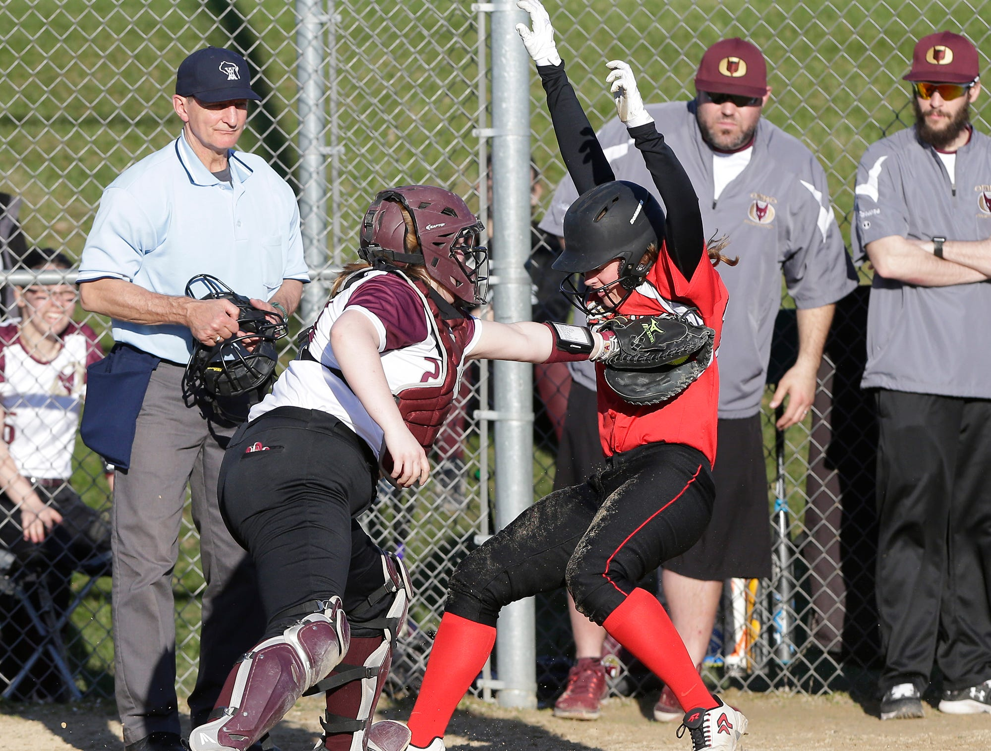 Omro High School softball's LeAnn Steinmates tags out a Lomira High School player at home plate during their game Tuesday, April 23, 2019 in Lomira, Wis. Doug Raflik/USA TODAY NETWORK-Wisconsin