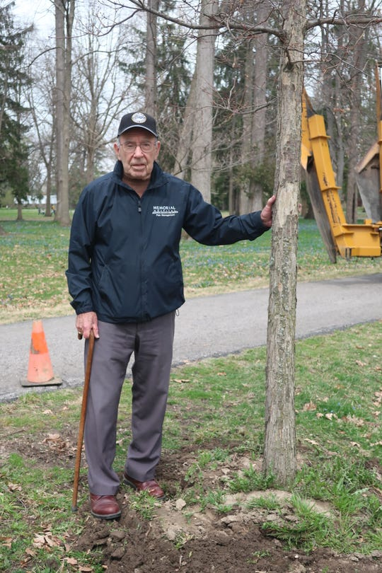 Ralph Billow, former longtime caretaker at Spiegel Grove, stands next to the oak tree he donated.