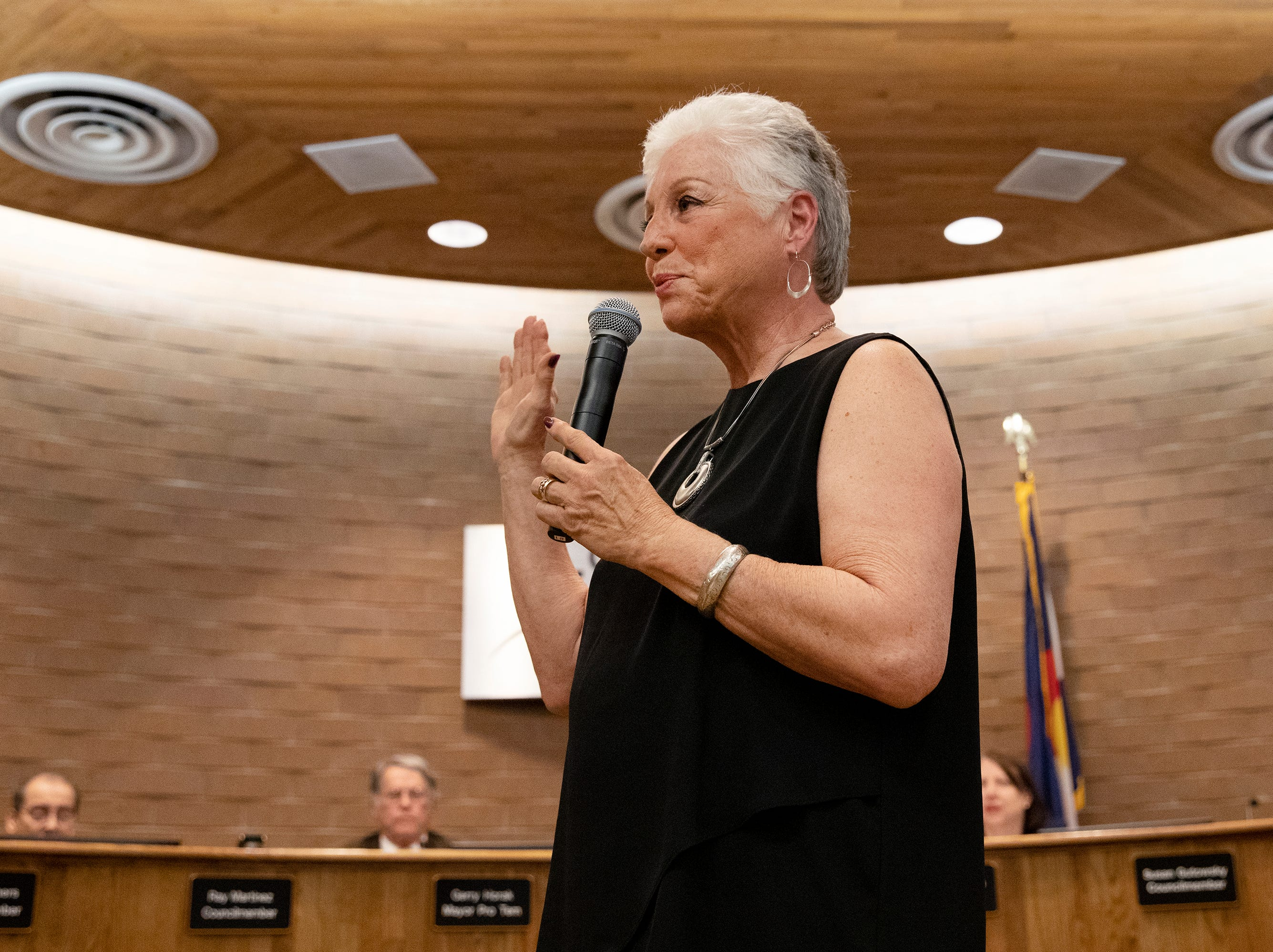 Susan Gutowsky is sworn into City Council on April 23 at City Hall.