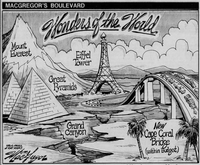 This editorial cartoon accompanied Eileen Bernard's 1989 News-Press article about the controversy over the building of the Cape Coral Bridge.