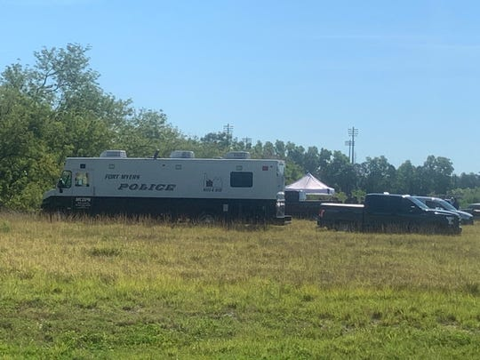 A large police presence was situated in a field along Veronica Shoemaker Boulevard between Dora and Canal streets on Wednesday, April 24, 2019 with a Fort Myers police command post, elements from the Lee County Sheriff's Office and a tent set up nearby.