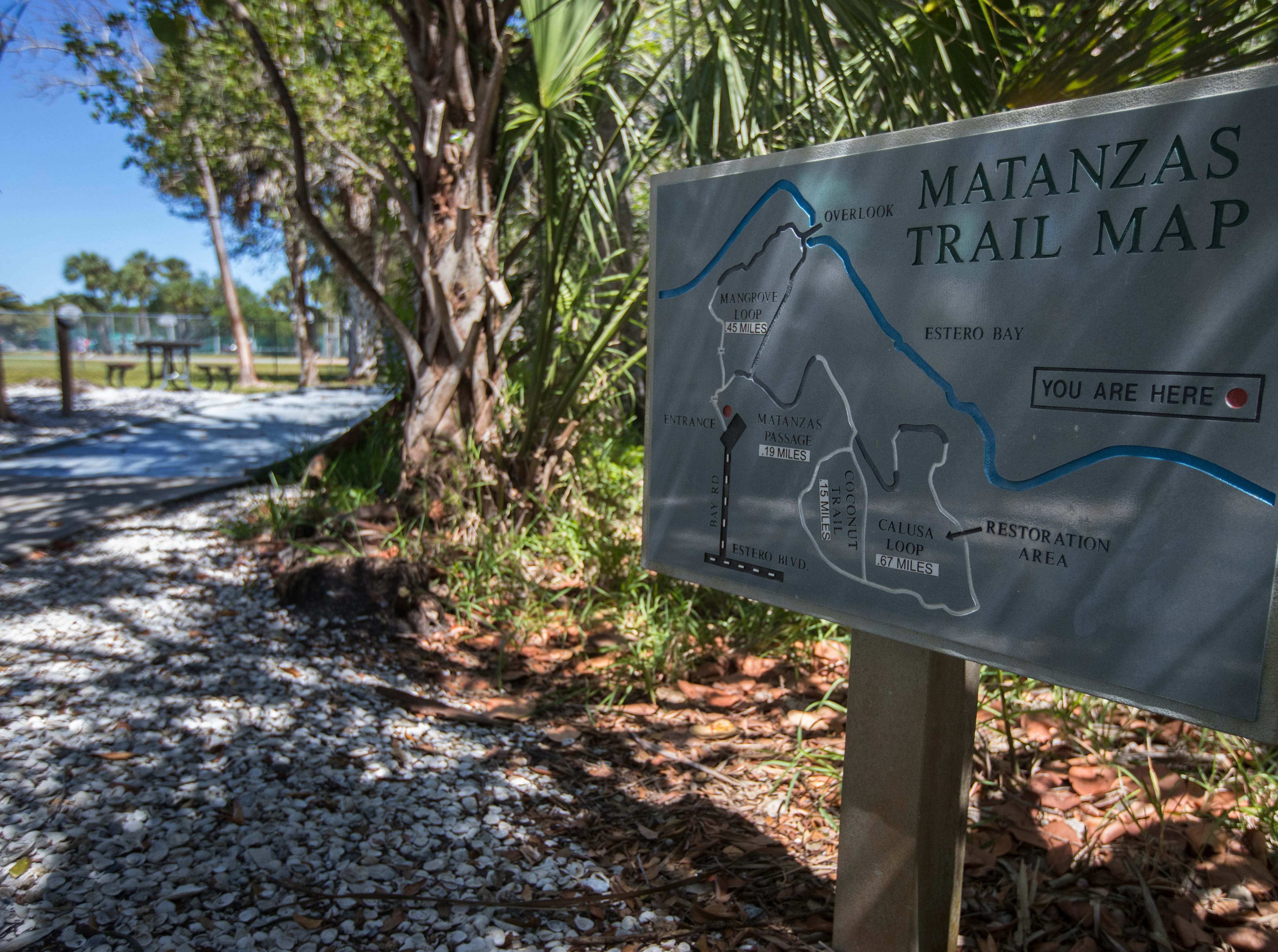 A map of the Matanzas Pass Preserve boardwalk trail is visible Tuesday afternoon, April23, 2019. The preserve is scheduled to undergo new upgrades.