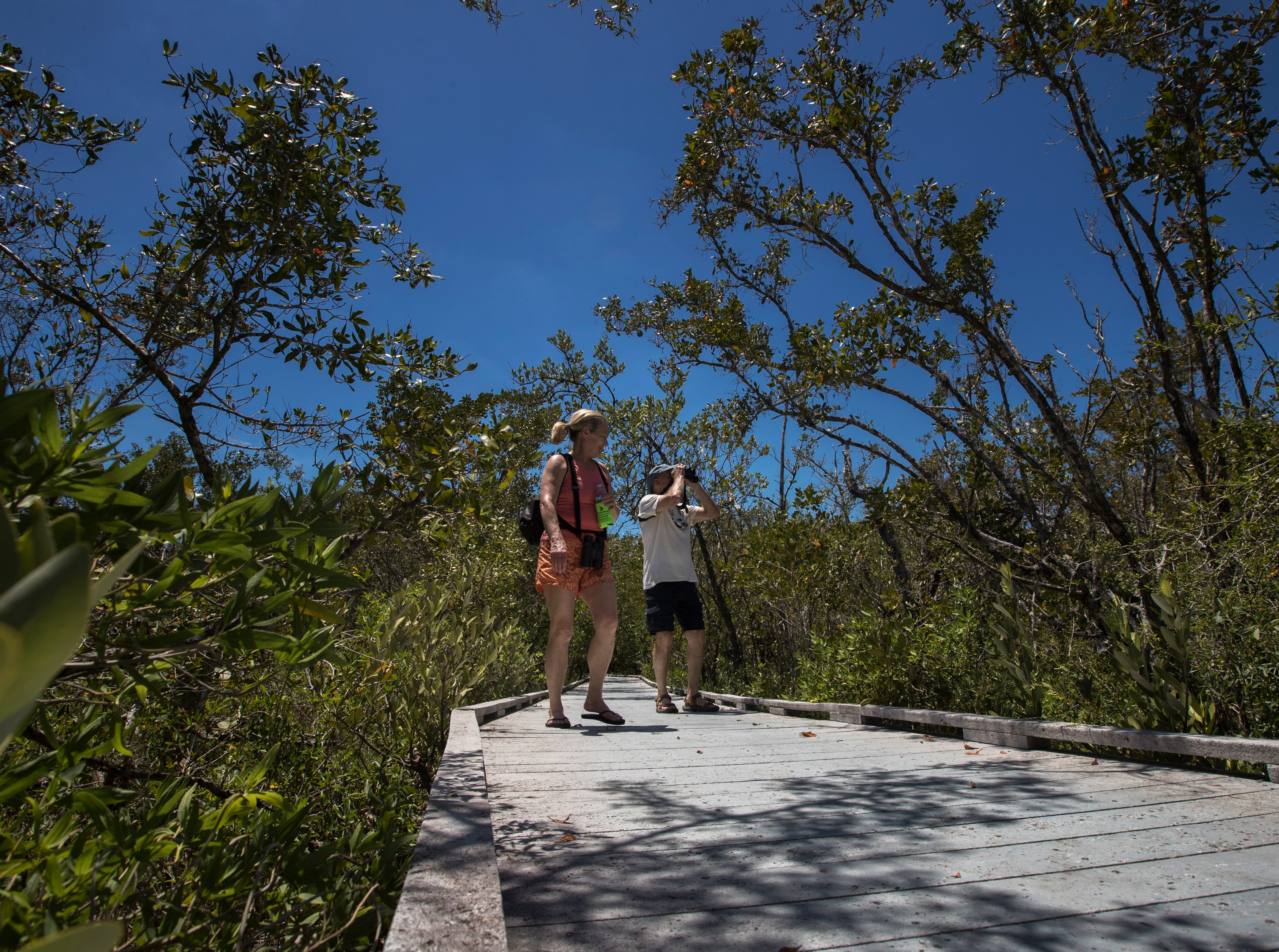 Fort Myers Beach residents Steve and Kim Rogers make their way through the Matanzas Pass Preserve boardwalk trail Tuesday afternoon, April23, 2019. The preserve is scheduled to undergo new upgrades.