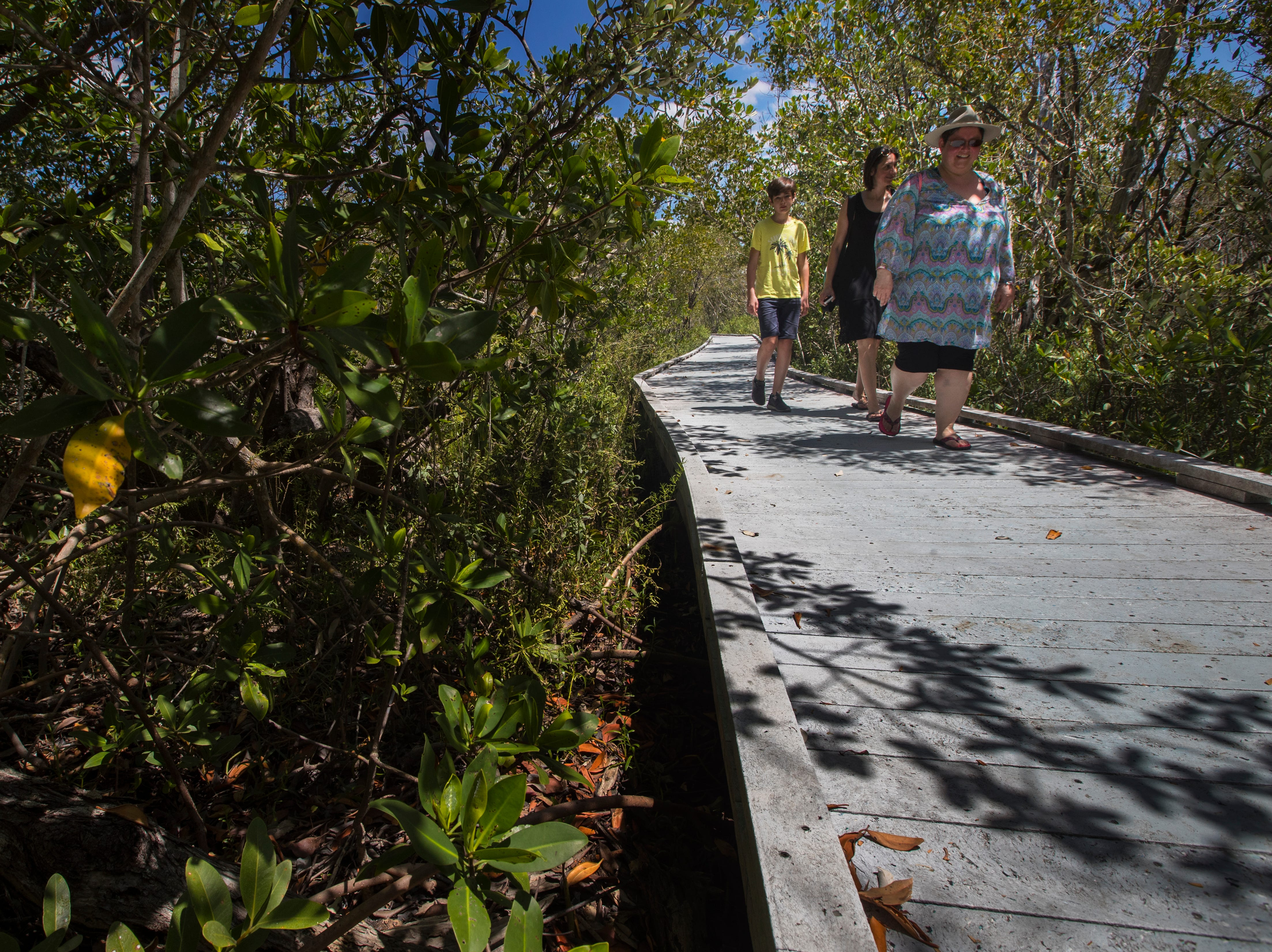 Tourists make their way through the Matanzas Pass Preserve boardwalk trail Tuesday afternoon, April23, 2019. The preserve is scheduled to undergo new upgrades.