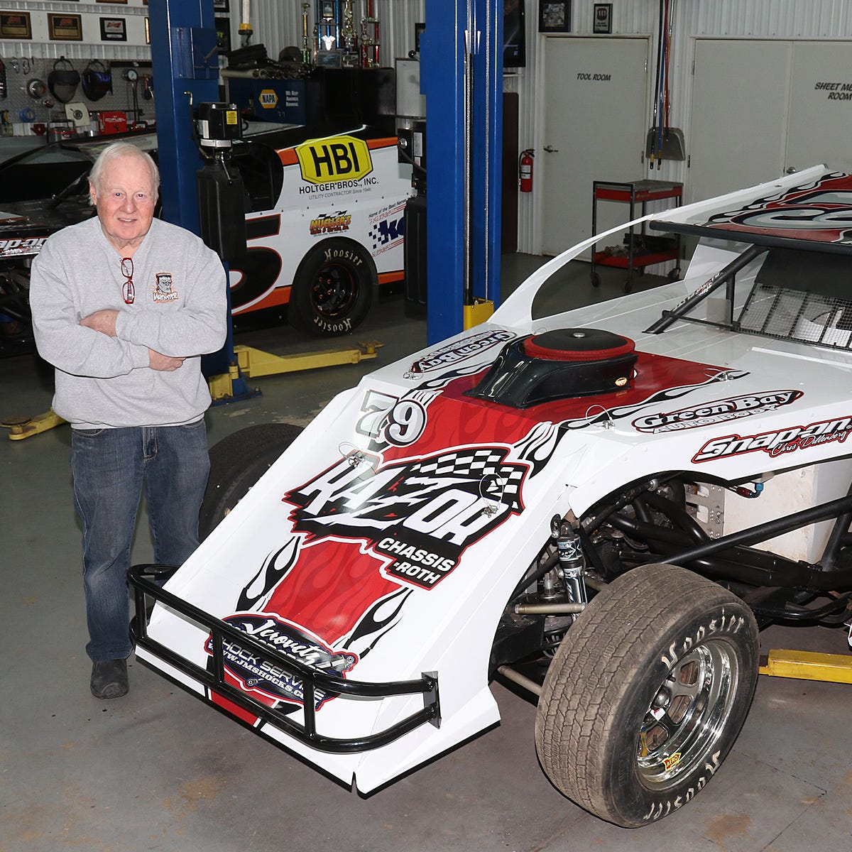 IMCA modified racer Jerry Muenster isn't taking foot off gas at 78