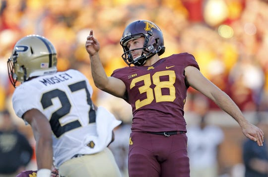 Former Ashwaubenon star Emmit Carpenter is the most accurate kicker in the history of University of Minnesota football.