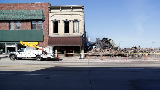 An early-morning fire on April 24, 2019, destroyed 100 S. Broadway, De Pere. The building was home to OGAN Restaurant, apartments and other businesses.
