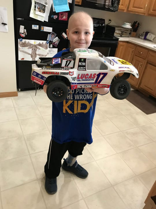 Seven-year-old cancer patient James Yedica with his radio-control truck.